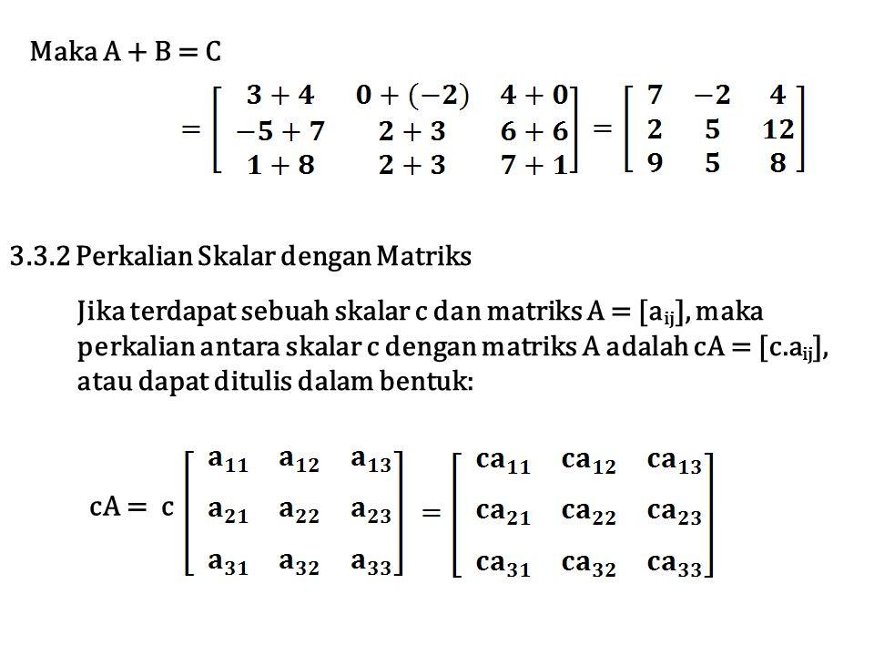 Maka A + B = C 3.3.2 Perkalian Skalar dengan Matriks. Jika terdapat sebuah skalar c dan matriks A = [aij], maka.